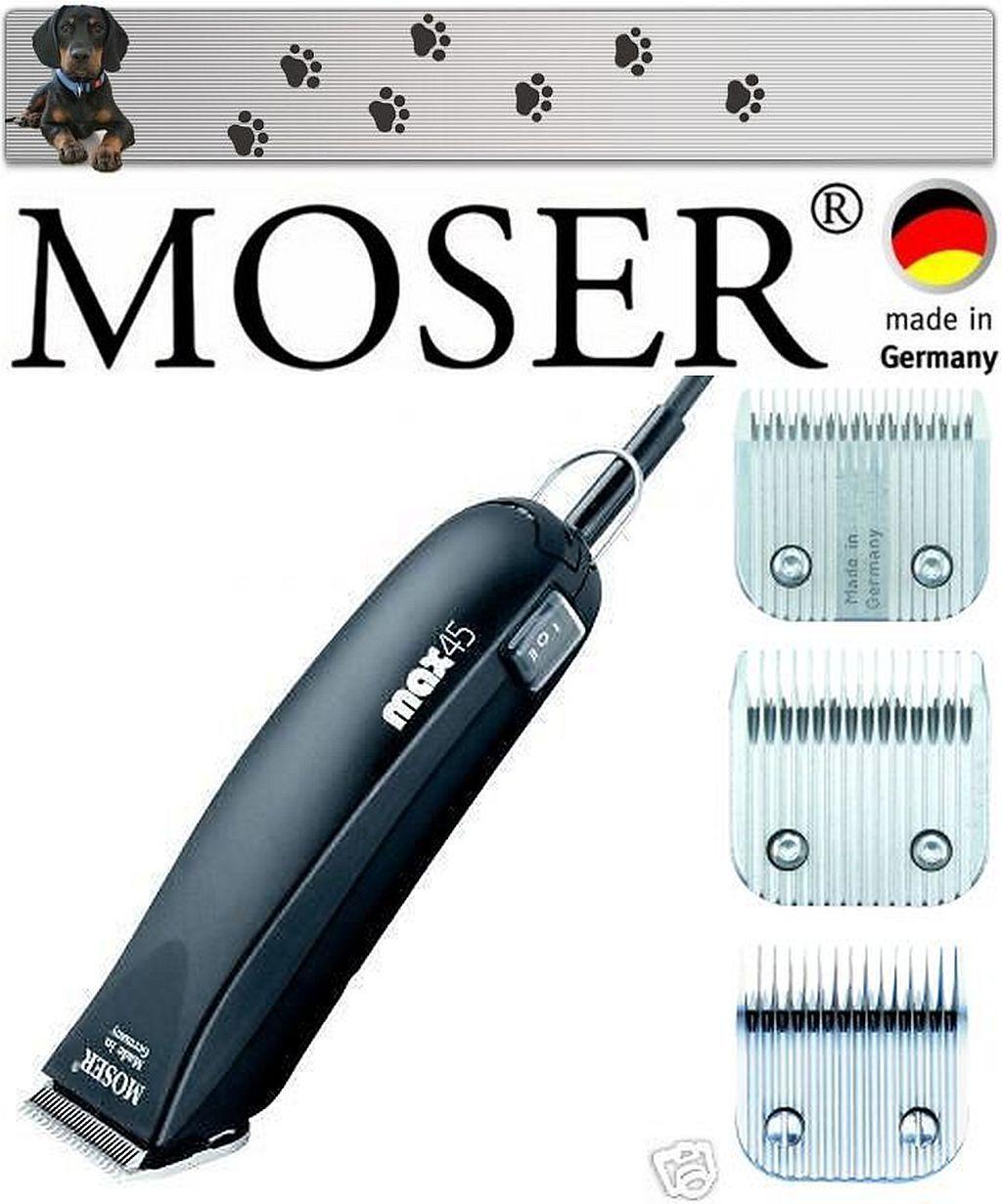 spedizione veloce a te Moser 1245+ 1245+ 1245+ +++ MAX 45 CANI TOSATRICE & 3 teste da taglio 1mm, 5mm, 7 mm  NUOVO   ti renderà soddisfatto
