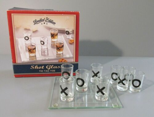 "10 Piece Limited Edition Shot Glass ""Tic Tac Toe"" Game"