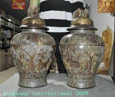 Lovely Old China Pure Bronze Gilt Eight Treasures 8 God Crane Lion Pot Tanks Crock Jar Invigorating Blood Circulation And Stopping Pains