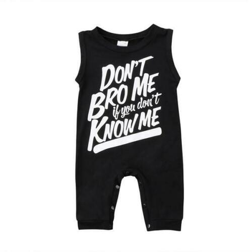 Baby Boy Sleeveless Don/'t Bro Me Cotton Romper Jumpsuit One-piece