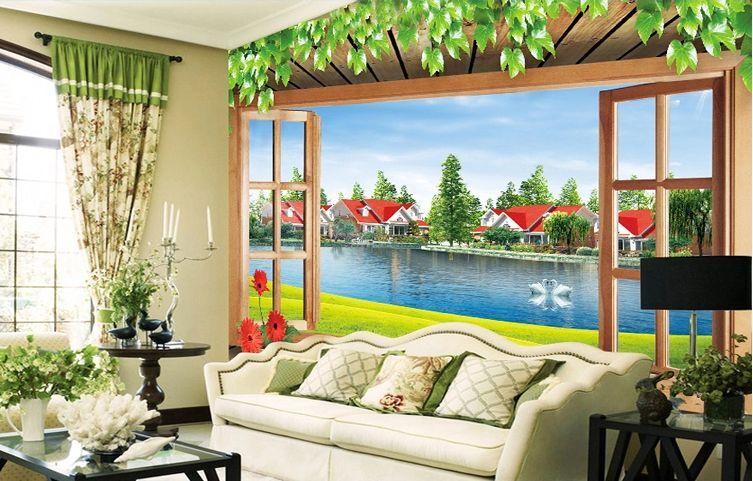 3DRotes Haus schwan in SEE Fototapeten Wandbild Fototapete BildTapete Familie DE