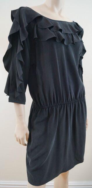 TIBI 100% Silk Black Ruffle Neck 3/4 Sleeve Short Evening Dress US8 UK12 BNWT