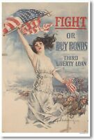 Fight Or Buy Bonds - Vintage Patriotic Wwi Art Print Poster