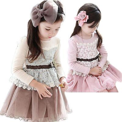 Kids Girls Clothes Bowtie Lace Ruffle Party Princess Dress Tutu Skirt Size 2-7Y