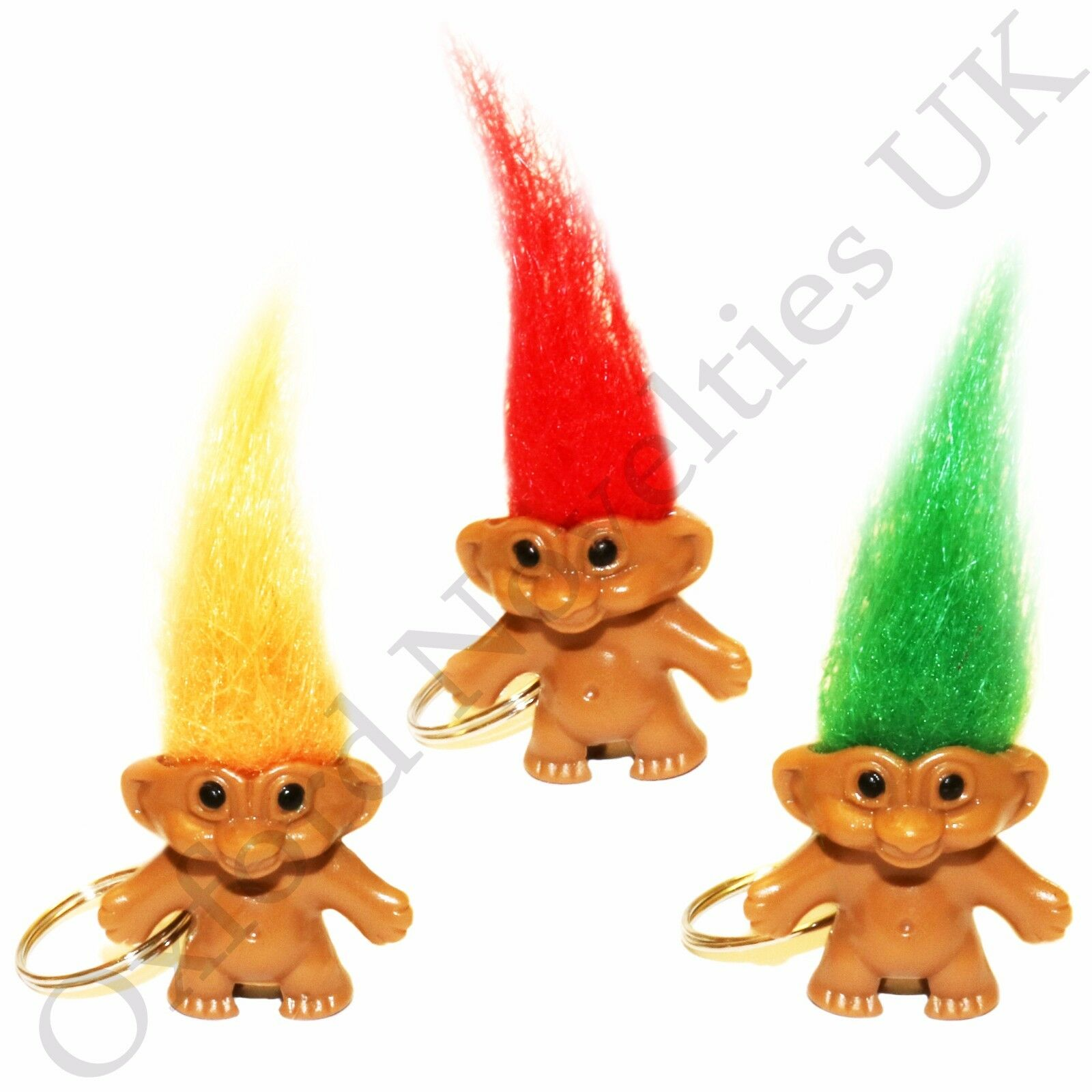 6 Orange//Green Lucky Troll Doll Key ring// Pencil Topper Party Bag Fillers//Pinata