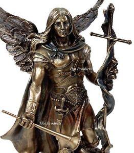 ST-GABRIEL-ARCHANGEL-HORN-AND-CROSS-Statue-Sculpture-Antique-Bronze-Fnsh