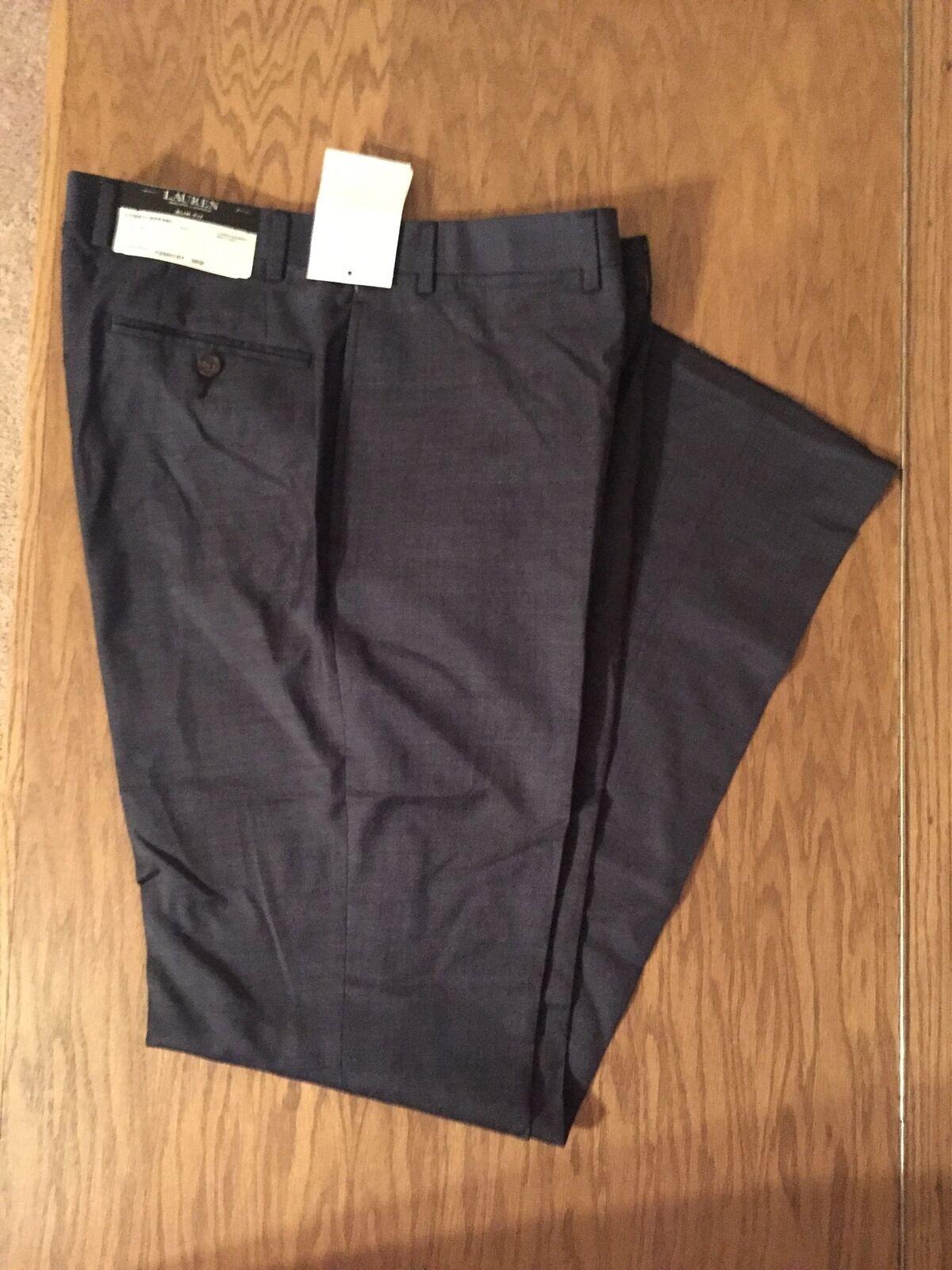 Ralph Lauren Wool Slim Fit Suit Pants Navy Mens Size 36W New