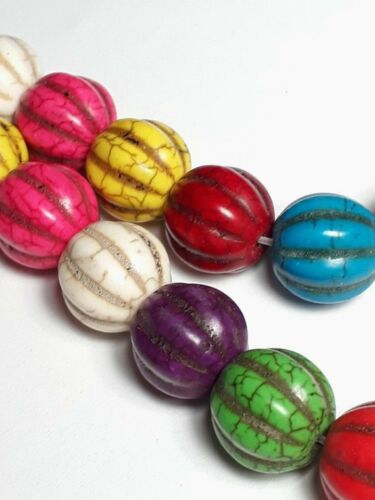 8pcs Bright Boho Lantern Howlite Stone Beads, B23010 Grade D 13x12mm
