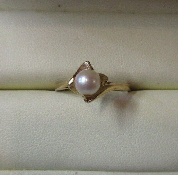 14K Yellow Gold Pearl Solitaire Ring Size 7.5 - image 10