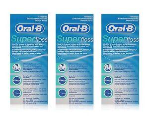 3 x Oral B Super Floss Dental Floss Braces Wide Spaces 50 Pre-Cut Strands