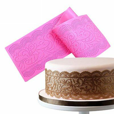Flower Silicone Impression Mat Lace Fondant Mold Cake Embossing Decorating Mould
