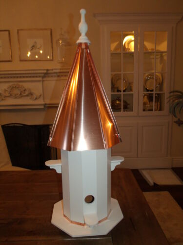 4 Hole Vinyl Bird House with copper top 3 foot tall X-Large   36 inches TALL