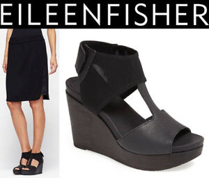 0f4106dc079 EILEEN FISHER Dote T-strap Wedge SANDALS 11 Mesh-Ankle Leather Black ...