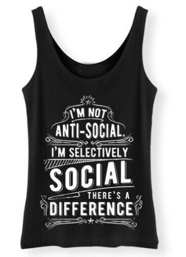 I/'M Not Anti Social Damen Tank Top Damen Aufschrift S-5XL AS2