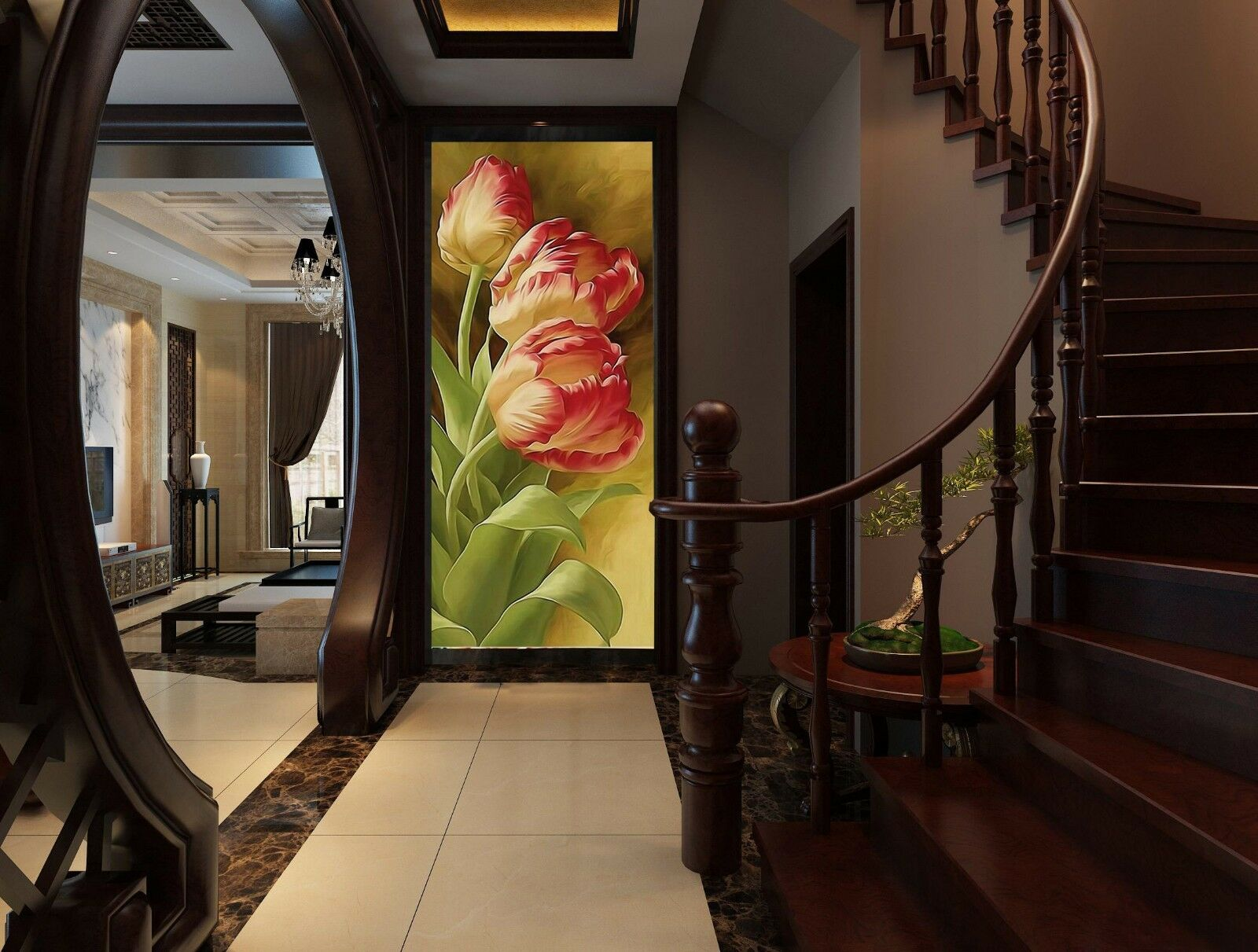 3D flowers painted 233 Wall Paper wall Print Decal Wall Deco Indoor wall Mural