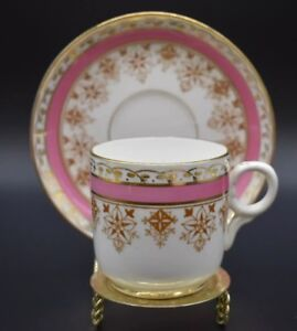 Thomas-Morris-English-Staffordshire-Eton-Pink-amp-Gold-Transferware-Cup-amp-Saucer