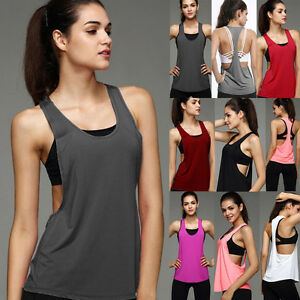 New-Womens-Sports-Vest-Fitness-Exercise-Gym-Yoga-Tank-Tops-Singlet-Loose-T-Shirt