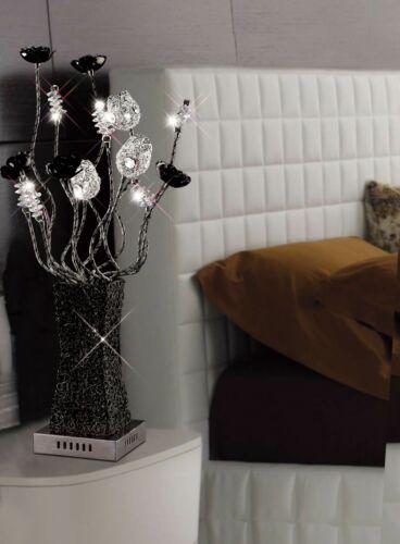 CRISTALLO CROMATO NERO in Alluminio Lampada da tavolo 4 LUCI MODERNO FIORE PETALO Lampada Retrò