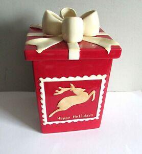 Holiday-Christmas-Present-with-Reindeer-Ceramic-Cookie-Jar-11-5-034-FREE-SH