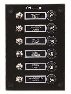 marine 6 gang fuse switch panel 12v black boat yacht. Black Bedroom Furniture Sets. Home Design Ideas