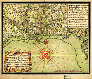 Details about 1747 OLD Map Gulf Coast Louisiana to Florida Wall Art Poster  Genealogy History