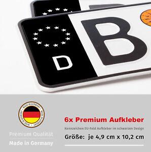 6x Nummernschild Aufkleber Kennzeichen Eu Feld In Schwarz