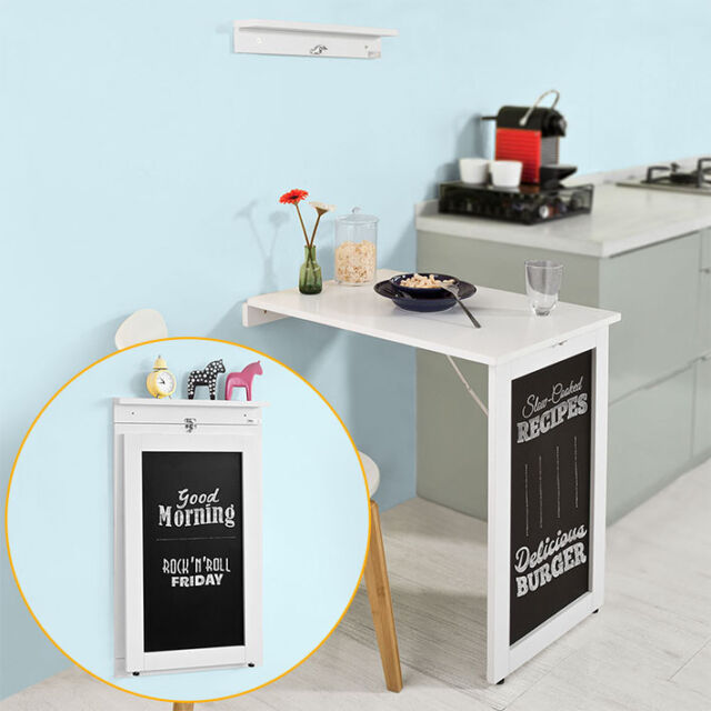 Sobuy Wall Mounted Folding Kitchen Dining Table Desk With Blackboard