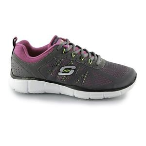 Details about Skechers EQUALIZER NEW MILESTONE Ladies Womens Lace Up Trainers CharcoalPink