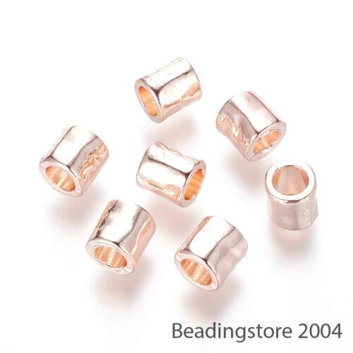 10pcs Or Rose Alliage Métal Perles Européen Lisse Colonne gros trou breloques 8 mm