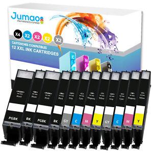 Lot-de-12-cartouches-jet-d-039-encre-type-Jumao-compatibles-pour-Canon-Pixma-MG7752