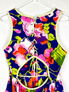 NEW Parker Seamed Silk Mini Lace-Up Open Back Corset Dress Floral Small NWOT