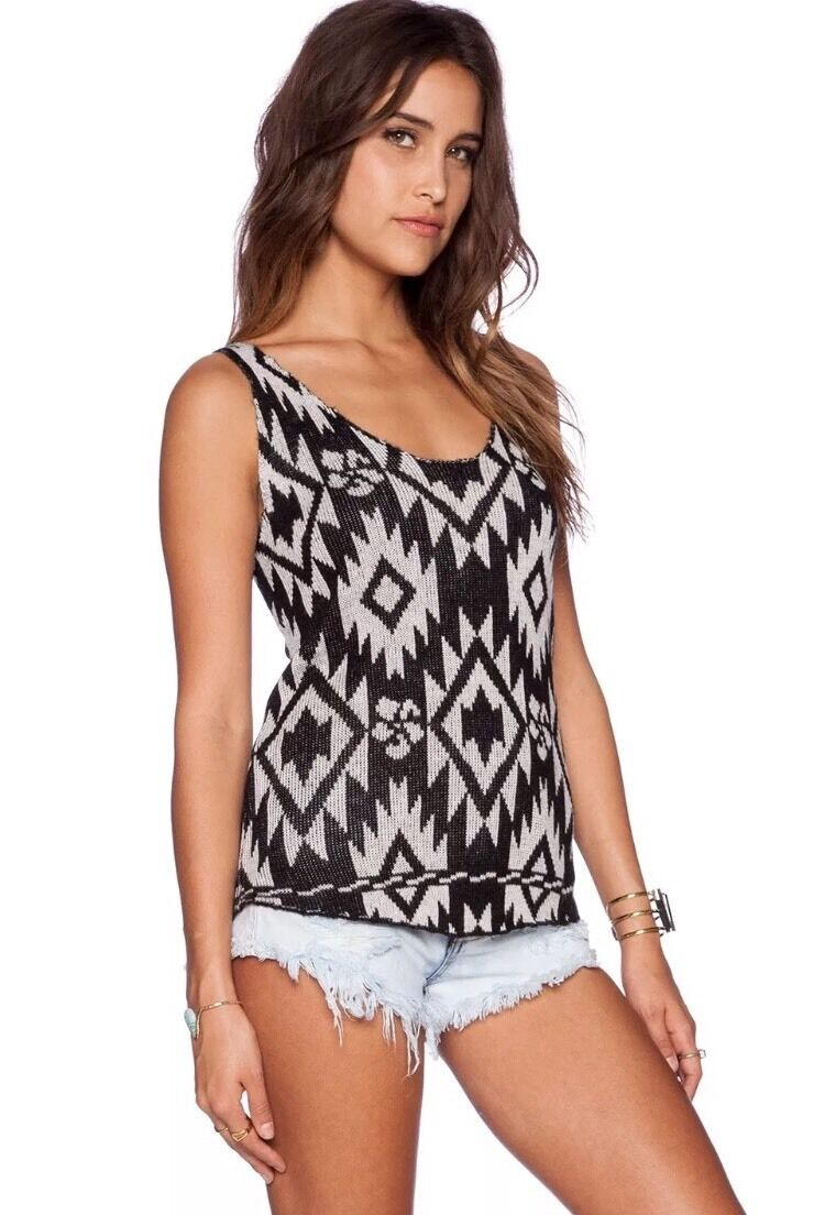 NWT XS, S Wildfox Couture Weiß Label Tribal Traveler Floral Tank Top Moon schwarz