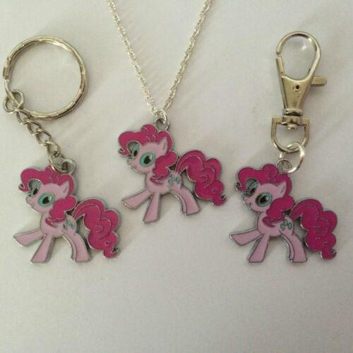 LITTLE PONY  NECKLACE KEY RING BAG CHARM SILVER PLATED CHAIN  IN GIFT BAG GIFT