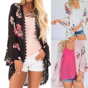 AU-Womens-Chiffon-Print-Lace-Coat-Tops-Kimono-Cardigan-Cover-up-Fashion-Smock