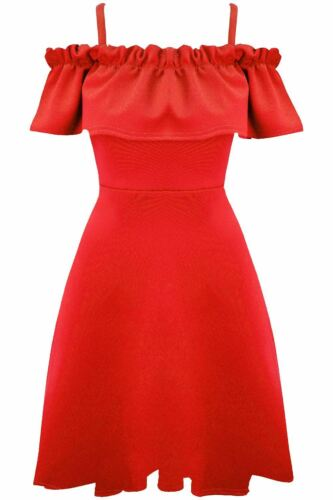 Womens Ladies Off Shoulder Peplum Frill Bardot Wide Strappy Ruched Skater Dress