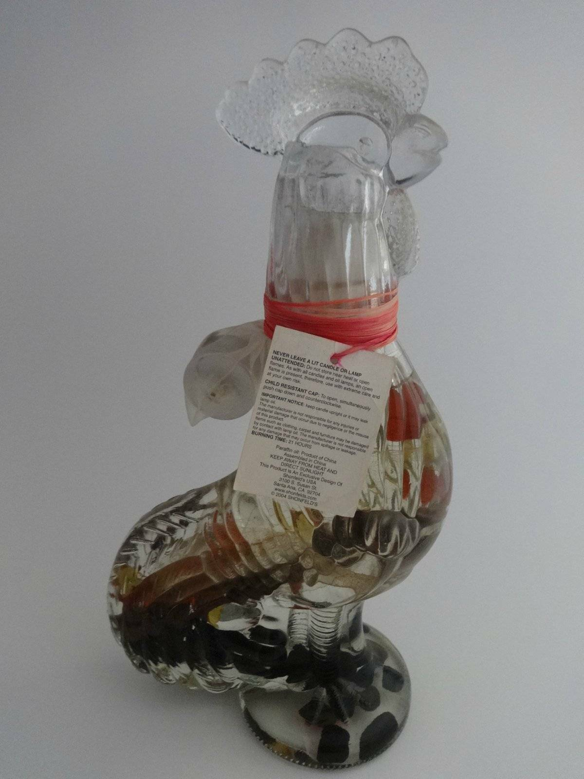 Rooster Oil Lamp Glass Being Design of Shonfeld's 11 3 4  Tall x 3.5  x 6  New