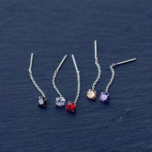 Damen-Ohrringe-Durchzieher-Zirkonia-5-Farben-Echt-Sterling-Silber-925