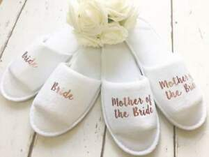 8e20aa01633b Image is loading Rose-Gold-Wedding-Personalised-Bridal-Party-Spa-Slippers-
