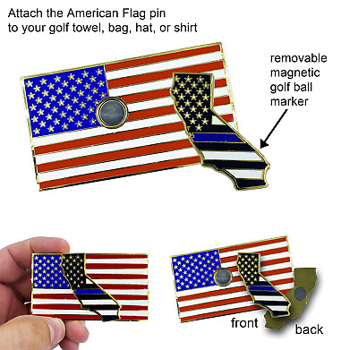 American Police Flag Pin with 2 pin posts and deluxe p CL-QQ Thin Blue Line U.S