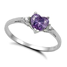 .925 Sterling Silver Ring size 4 CZ Heart cut Amethyst Midi Kids Ladies New x23