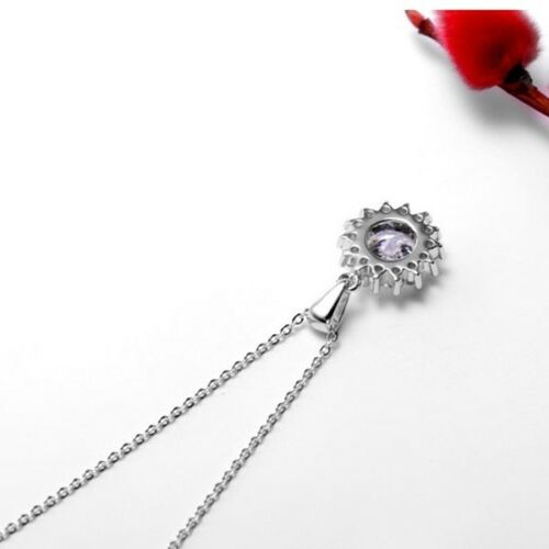 Gorgeous Shiny Round Whit Fire Topaz Gems Silver Flower Necklace Pendants