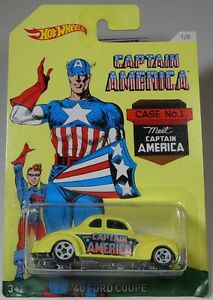 HOT-WHEELS-CAPTAIN-AMERICA-SERIES-039-40-FORD-COUPE-Yellow