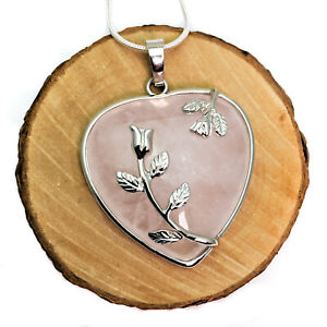 Silver-Plated-Pink-Quartz-Heart-Natural-Stone-Pendant-Necklace