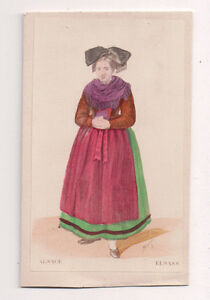 Vintage-CDV-Handpainted-Lady-Alsace-France-Traditional-National-Costume