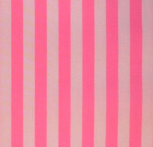 White /& Bright Candy Pink 11 mm Stripe Polycotton Per Metre