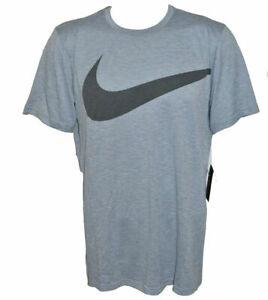 c69b83e0 Nike Men's Breathe Swoosh T-shirt M Gray Dri Fit 933416 043 NEW With ...