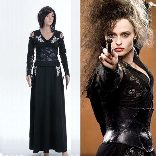 Harry Potter BELLATRIX Bella LeStrange Robe Noire Cosplay Costume Robe de soirée