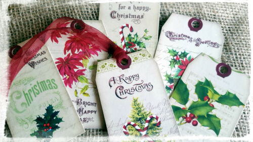 Set of 6 Ttraditional  Vintage Style Christmas Gift Tags With Ribbon