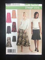Simplicity 4881 Misses Pull On Gored Skirt & Bias Skirt - Sizes 6-12