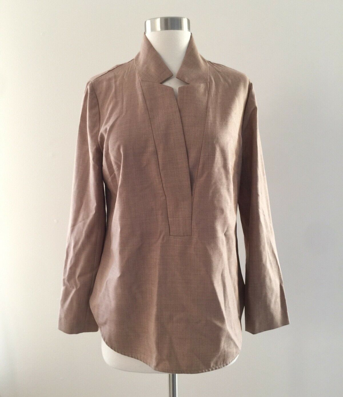 Nwt JCREW Popover Shirt In Super 120s Wool F4016 Heather Sand Tan Sz 6